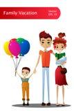 传染媒介家庭度假与五颜六色的家庭漫画人物的动画片例证 免版税库存图片
