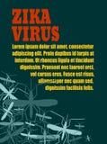 传染媒介小册子、报告或者飞行物设计模板 Zika热病亲戚 库存照片