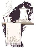 传染媒介小插图 在早餐题材的剪影  免版税图库摄影