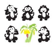 传染媒介小组猴子和香蕉 免版税图库摄影