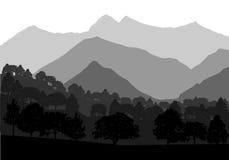 传染媒介山和森林风景 例证 免版税库存图片