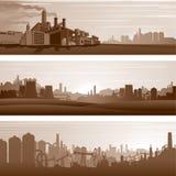 传染媒介工业背景,都市风景 免版税库存图片