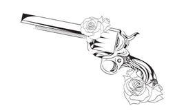 传染媒介左轮手枪的葡萄酒例证与玫瑰的 皇族释放例证