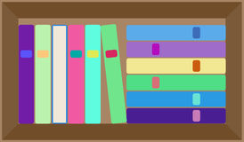 传染媒介平的五颜六色的书架布局 免版税库存照片