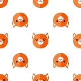 传染媒介平的动画片狐狸朝向无缝的样式 免版税库存图片