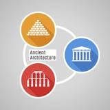 传染媒介平的古老建筑学 免版税库存照片