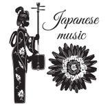 传染媒介平的样式日本音乐模板 免版税库存照片