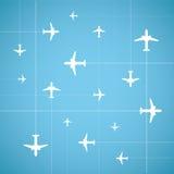 传染媒介平的样式航空旅行背景 免版税库存照片
