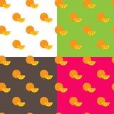 传染媒介平的桔子结果实无缝的样式 免版税库存照片