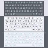 传染媒介平的现代键盘,字母表按钮 物质设计 免版税库存图片