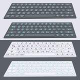 传染媒介平的现代键盘,字母表按钮 物质设计 图库摄影