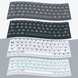 传染媒介平的现代键盘,字母表按钮 物质设计 库存照片