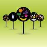 传染媒介平的营养徽章 在黑圈子的食物象 库存照片