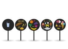 传染媒介平的营养徽章 在黑圈子的食物象 免版税库存图片