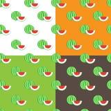 传染媒介平的西瓜无缝的样式 免版税库存照片