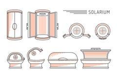 传染媒介平的设计太阳巴恩日光浴室 库存照片