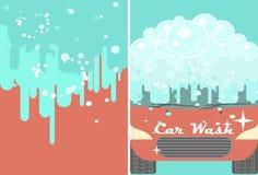 传染媒介广告的洗车横幅 自动清洁 免版税库存照片