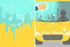 传染媒介广告的洗车横幅 黄色 库存照片