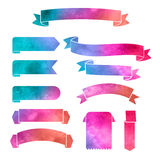 传染媒介水彩五颜六色的丝带横幅 免版税图库摄影
