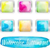 传染媒介水彩五颜六色的按钮 免版税库存图片