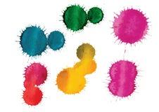 传染媒介水彩刷子手拉的五颜六色的背景 图库摄影