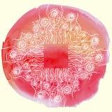 传染媒介水彩油漆花卉设计 免版税库存照片