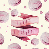 传染媒介水彩生日快乐设置与甜点 免版税库存照片