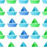 传染媒介水彩船无缝的样式 免版税库存照片