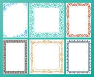 传染媒介彩色组 华丽框架和葡萄酒纸卷元素 免版税库存照片