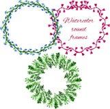 传染媒介水彩花卉圆的框架 免版税库存照片