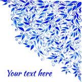 传染媒介水彩蓝色留下装饰品 免版税图库摄影