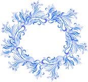 传染媒介水彩蓝色花卉框架 库存照片