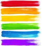 传染媒介彩虹水彩刷子冲程 库存照片