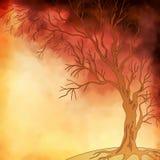传染媒介水彩绘画秋天树 免版税图库摄影