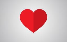 传染媒介心脏与阴影的形状标志 免版税库存照片