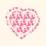 传染媒介心脏形状有心脏样式背景 免版税库存图片