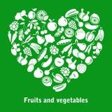 传染媒介心脏由水果和蔬菜做成 库存例证
