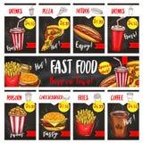 传染媒介快餐菜单被设置的价标模板 向量例证