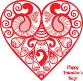 传染媒介情人节有花边的纸心脏问候 库存图片