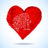 传染媒介情人节有花边的纸心脏问候 免版税库存照片