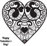 传染媒介情人节有花边的纸心脏问候 库存照片
