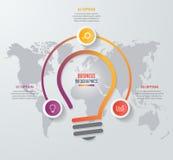 传染媒介想法电灯泡圈子infographic模板 库存照片