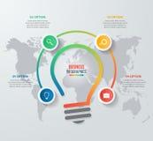 传染媒介想法电灯泡圈子infographic模板 免版税库存图片