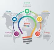 传染媒介想法电灯泡圈子infographic模板 库存图片
