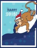 传染媒介愉快的冲浪的新年猴子假日 免版税图库摄影
