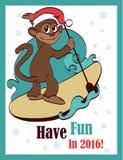 传染媒介愉快的冲浪的Paddleboarding假日 免版税库存照片