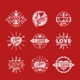 传染媒介我爱你文本覆盖物手拉的字法徽章激动人心的恋人行情例证 向量例证