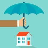 传染媒介房子在平的样式的保险概念 库存例证