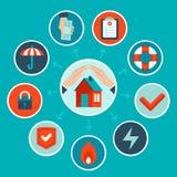 传染媒介房子在平的样式的保险概念 库存照片