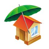 传染媒介房子象和伞 免版税图库摄影